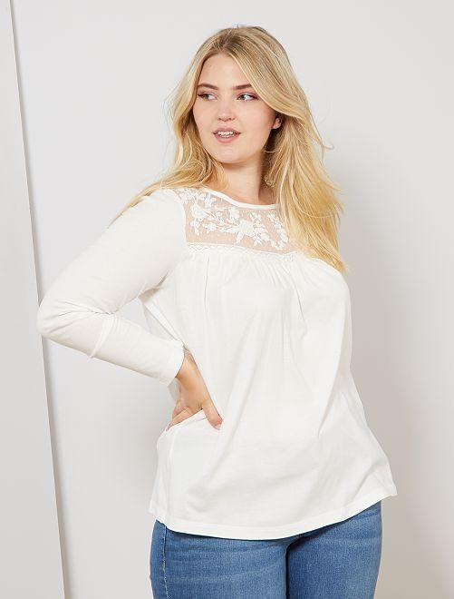 T-shirt avec plastron en mesh                                         blanc