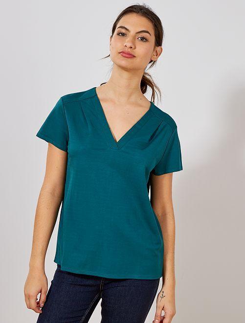 T-shirt avec plis fantaisie                                         vert profond