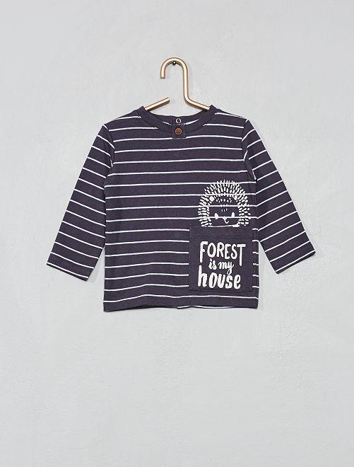 T-shirt avec poche imprimée 'hérisson'                                                                 anthracite Bébé garçon