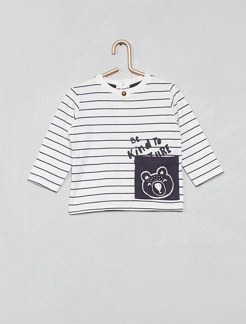 T-shirt avec poche imprimée 'hérisson'                     écru