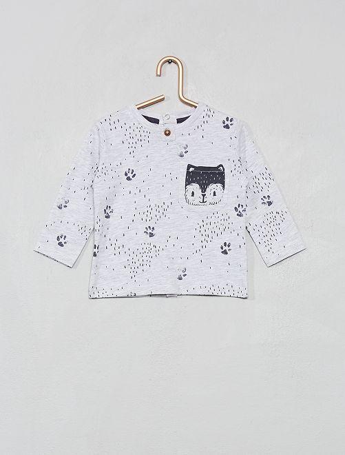 T-shirt avec poche imprimée 'renard'                                                                 gris chiné Bébé garçon