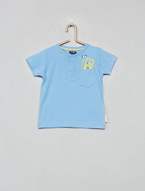 T-shirt avec poche poitrine                                         bleu