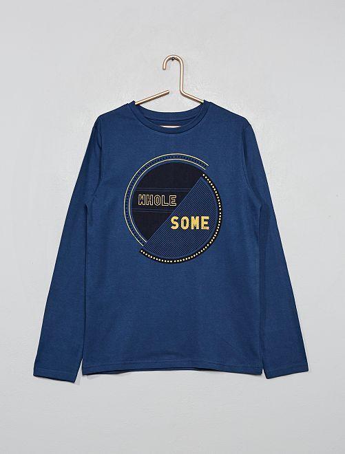 T-shirt avec print                                                                                                                                                                 bleu