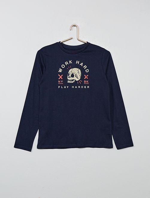 T-shirt avec print                                                                                                                                 bleu marine