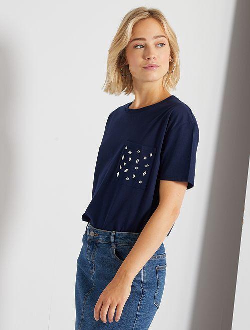 T-shirt avec strass                                                                 bleu marine