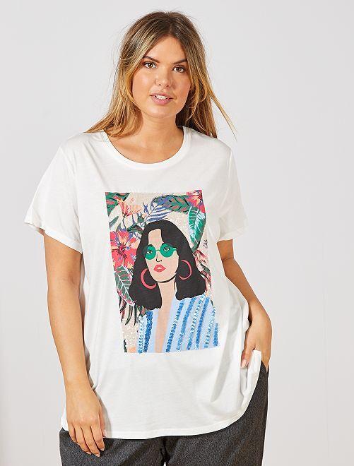 T-shirt avec visage sequins                                         blanc visage