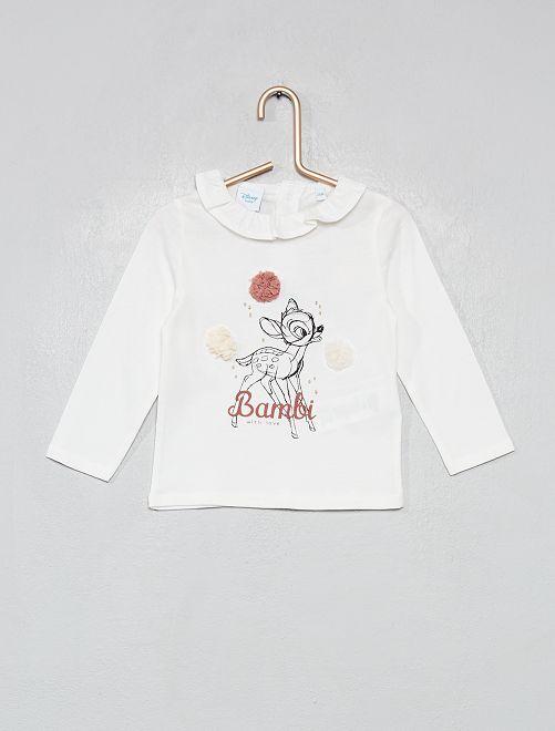 T-shirt 'Bambi' à pompons                             blanc