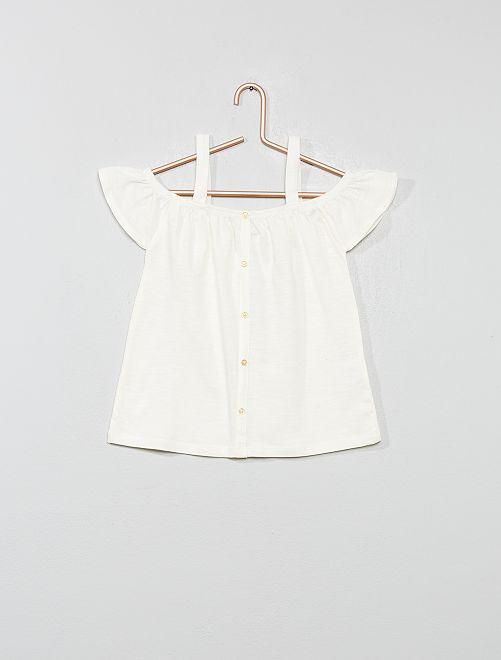 T-shirt bardot avec bretelles                                                                                         blanc Fille