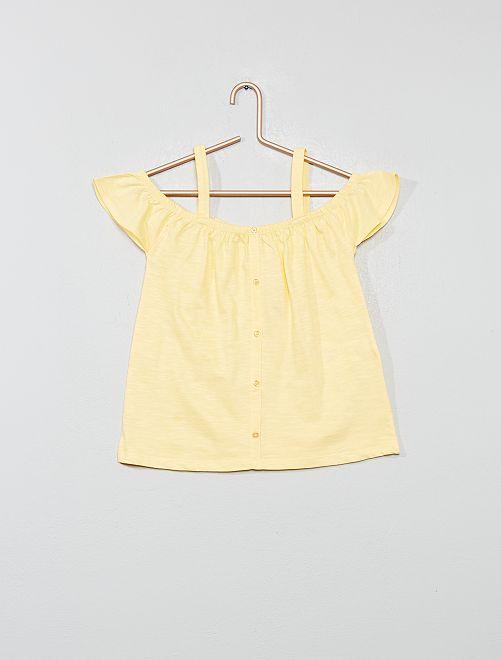 T-shirt bardot avec bretelles                                                                                         jaune or