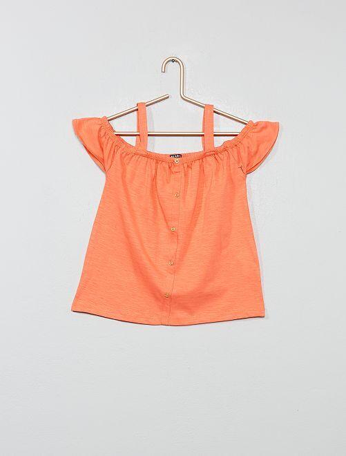 T-shirt bardot avec bretelles                                                                                         orange corail