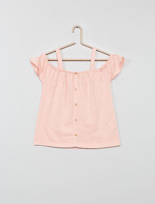 T-shirt bardot avec bretelles                     rose