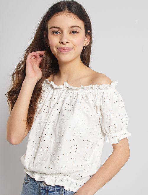 T-shirt bardot broderie anglaise                             blanc