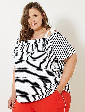 T-shirt bardot marinière - Kiabi