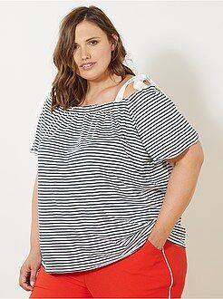 T-shirt, débardeur taille 58/60 - T-shirt bardot marinière - Kiabi