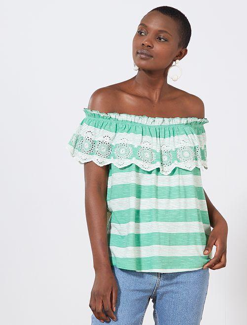 T-shirt 'Bardot' rayures et broderies                                                                                         vert