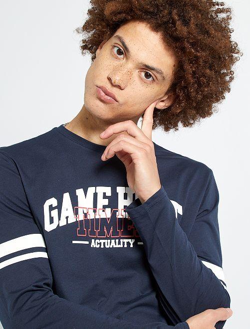 T-shirt 'baseball'                                         bleu marine