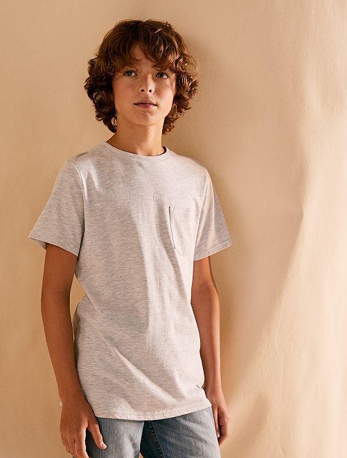 T-shirt basique avec poche                                                                                                                                                     gris chiné