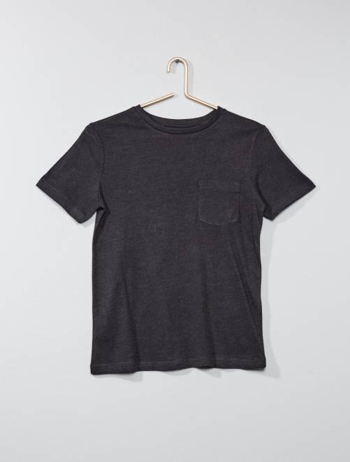 T-shirt basique avec poche                                                                                                                                                                             gris foncé Garçon adolescent