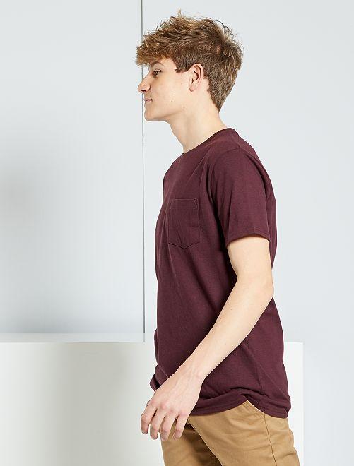 T-shirt basique avec poche                                                                                                     rouge bordeaux