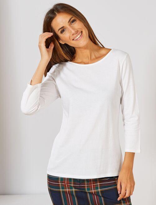 T-shirt basique col bateau                                                                                                                                                                                                                                                     blanc