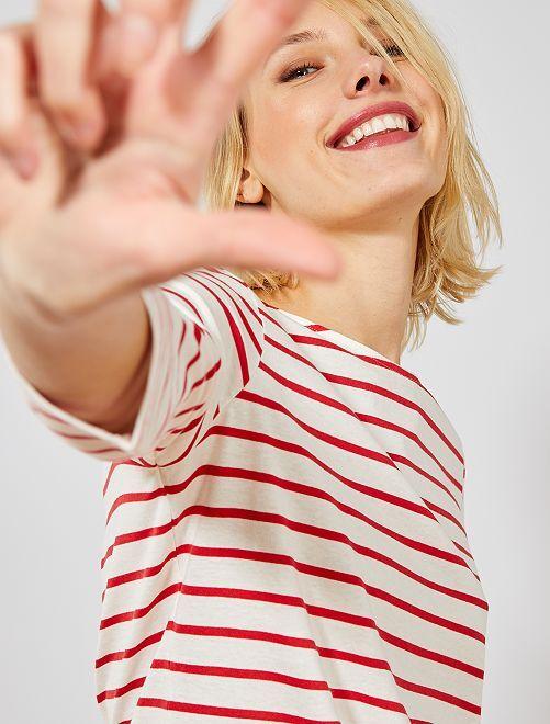 T-shirt basique col bateau                                                                                                                                                                                                                                                     blanc rayé rouge