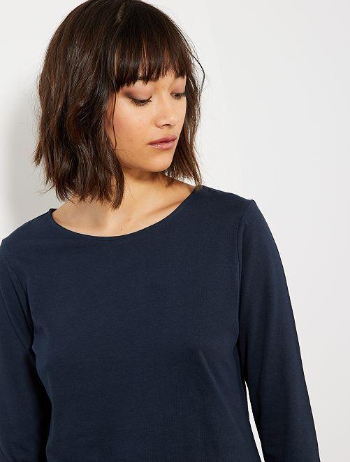 T-shirt basique col bateau                                                                                                                                                     bleu marine Femme