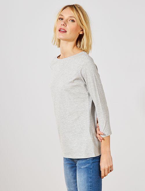 T-shirt basique col bateau                                                                                                                                                                                                                                         gris clair