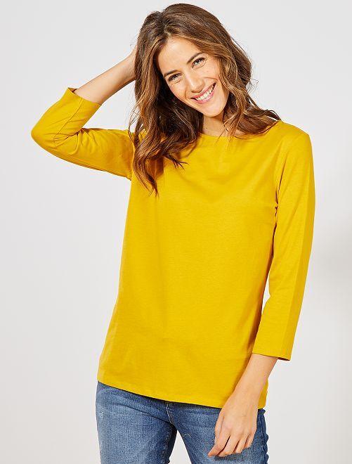 T-shirt basique col bateau                                                                                                                                                                                                                                                     jaune bronze