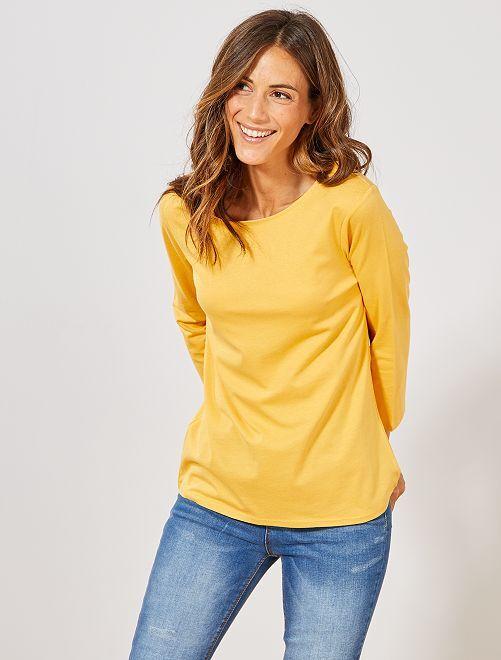 T-shirt basique col bateau                                                                                                                                                                                                                                                     jaune