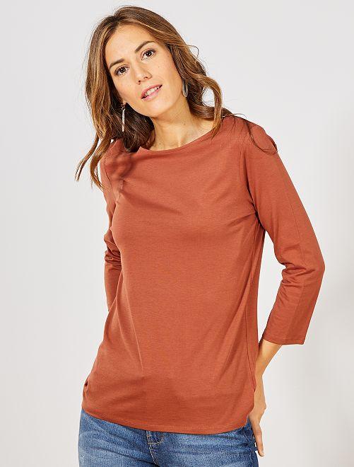 T-shirt basique col bateau                                                                                                                                                                                                                                                     marron