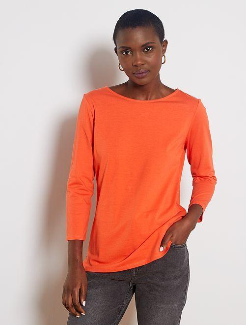 T-shirt basique col bateau                                                                                                                                                                                                                                                     orange