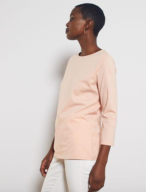T-shirt basique col bateau                                                                                                                                                                                                                                                     rose