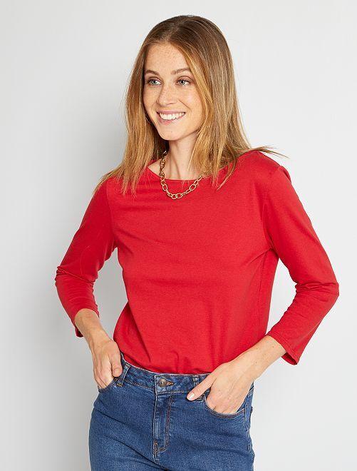 T-shirt basique col bateau                                                                                                                                                                                                                             rouge