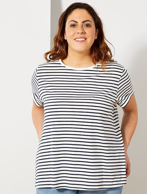 T-shirt basique éco-conception                                                                                                                 rayé marine