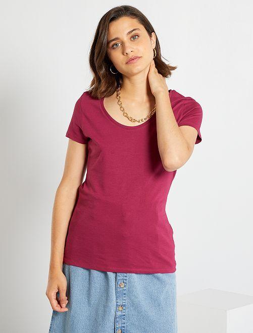 T-shirt basique éco-conçu                                                                                                                             rouge lie de vin