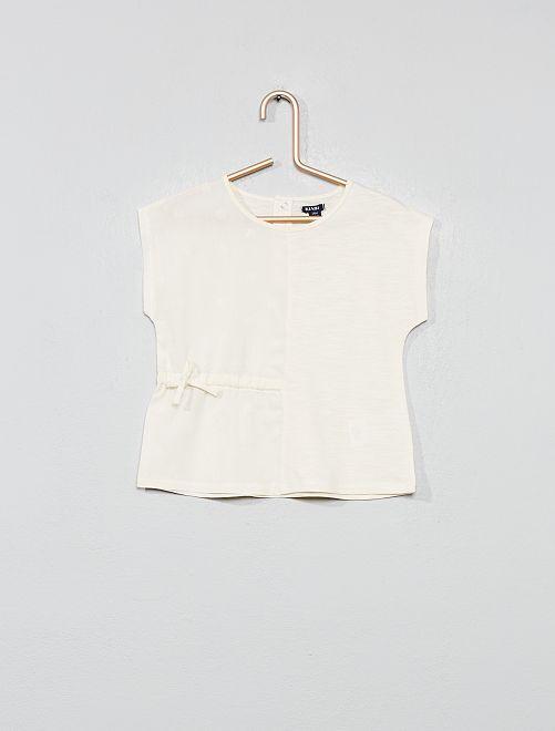 T-shirt bi-matière                     blanc cassé