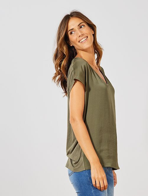 T-shirt bi-matière col V                                                                             kaki