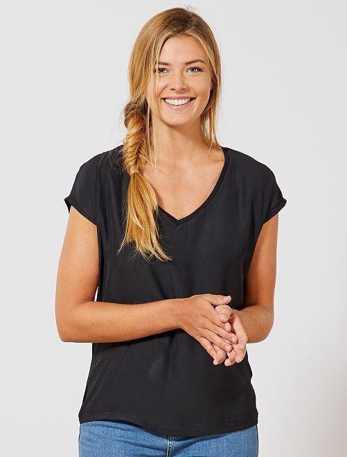 T-shirt bi-matière col V                                                                                         noir