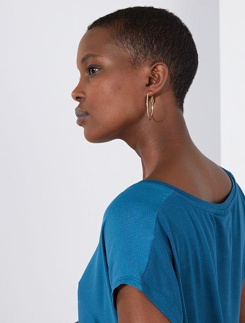 T-shirt bi-matière col V                                                                                         vert bleuté