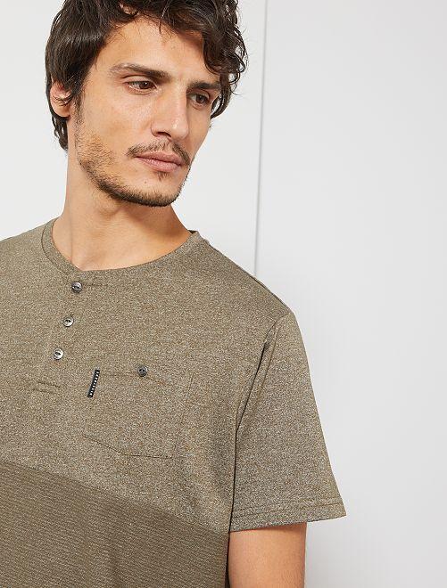 T-shirt bi-matière                                                     kaki