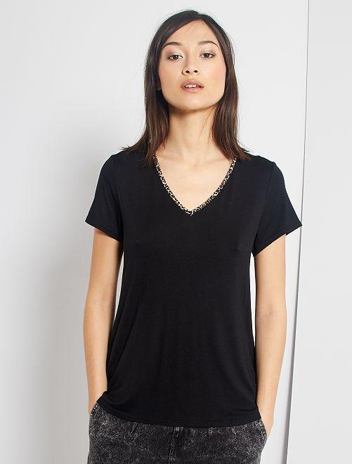 T-shirt biais léopard                             noir