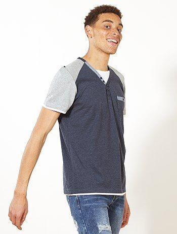 T-shirt bicolore col tunisien - Kiabi