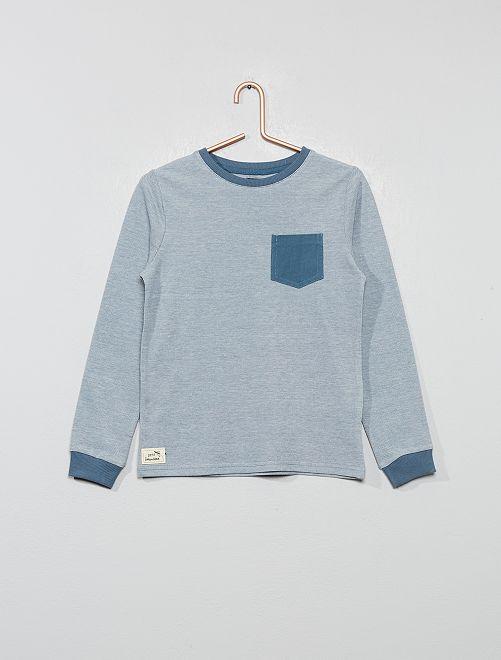 T-shirt bicolore en maille piquée                                         bleu gris Garçon