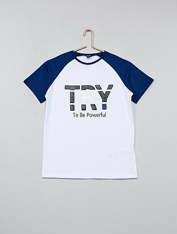T-shirt bicolore imprimé