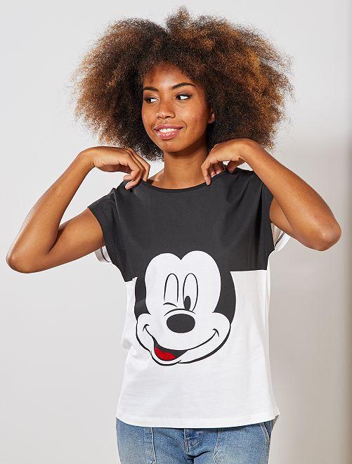 T-shirt bicolore 'Mickey'                                         blanc