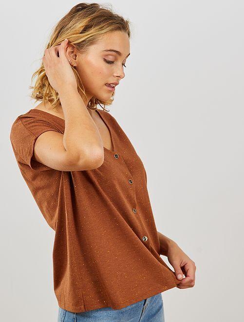 T-shirt boutonné doré                                                                 brun