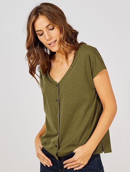 T-shirt boutonné doré                                                                 kaki