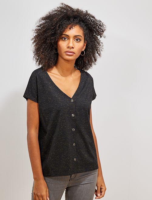 T-shirt boutonné doré                                                                 noir