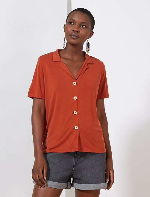 T-shirt boutonné                                         rouge ocre Femme