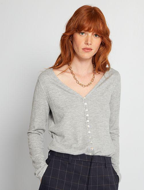 T-shirt boutonnée                                         gris